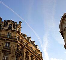 Jet trails in Paris by Rachael Mullins