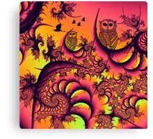 Sunset Owls Forest Canvas Print