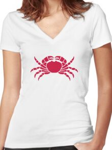 Red crab Women's Fitted V-Neck T-Shirt