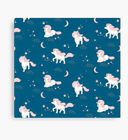 Cute Unicorns, stars an moon. Canvas Print