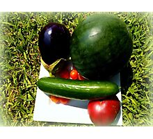 Home Grown Garden Veggies and Fruit Photographic Print
