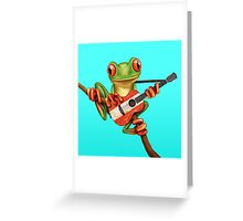Tree Frog Playing Austrian Guitar Greeting Card