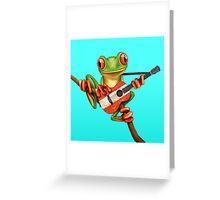 Tree Frog Playing Austrian Guitar Greeting Card