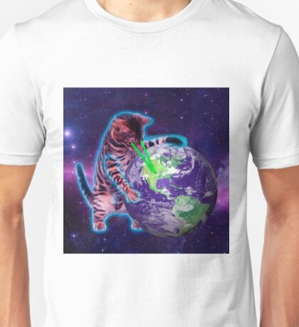 Cat destroying the world with eye laser Unisex T-Shirt