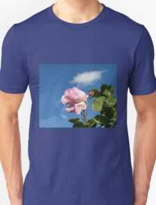 Pink Rose and Bud against Blue Summer Sky Unisex T-Shirt