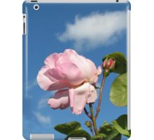 Pink Rose and Bud against Blue Summer Sky iPad Case/Skin