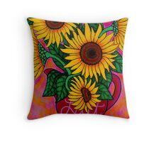 Saturday Morning Sunflowers Throw Pillow