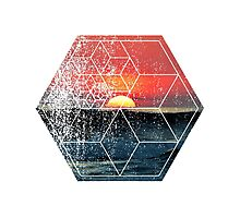 Nature and Geometry - Sunset at Sea Polygonal Design Photographic Print
