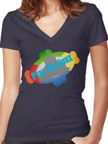 Play on Linux Women's Fitted V-Neck T-Shirt