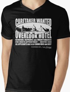 Caretaker Wanted (White Print) Mens V-Neck T-Shirt