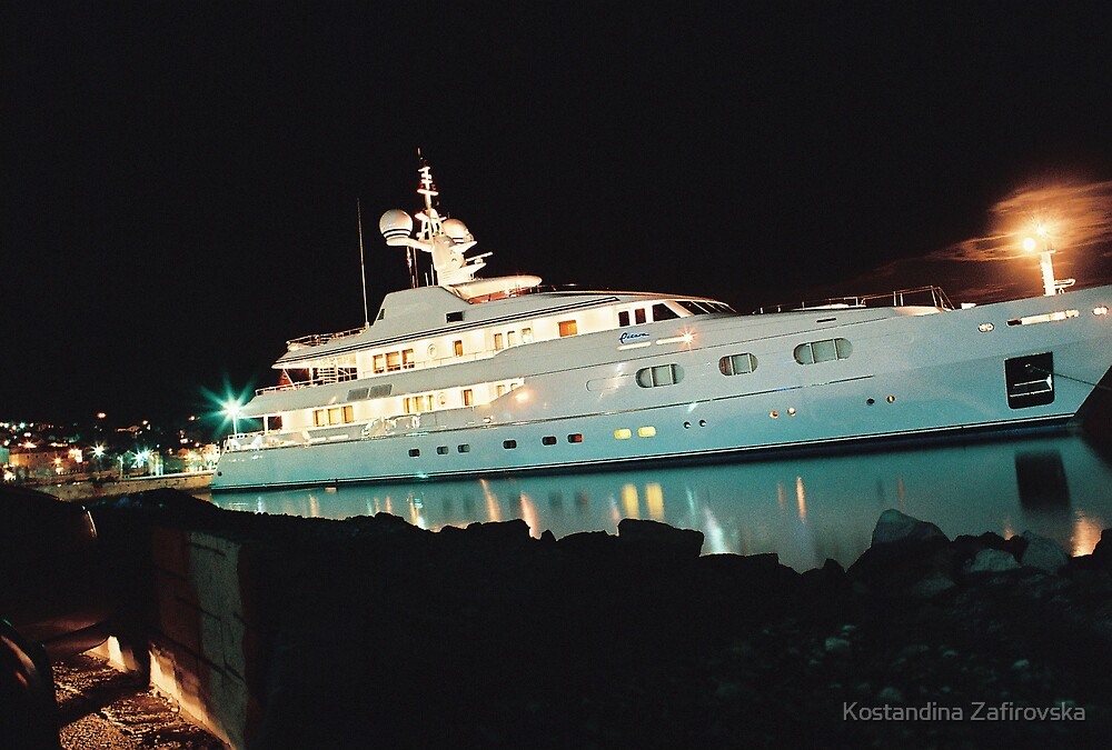 yacht in calm night by Kostandina Zafirovska