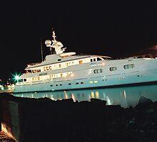 yacht in calm night by Kostandina Zafirovska