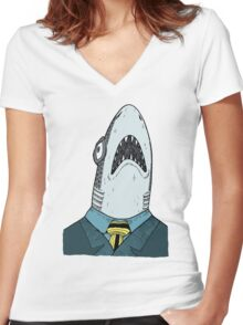 The Clothes Make the Shark Women's Fitted V-Neck T-Shirt