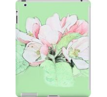 Art style pink apple flower color pencil sketch. floral photo art. iPad Case/Skin