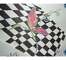 Checkered Butterfly Photographic Print