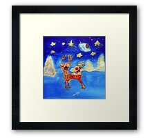 Little Angel on a Reindeer by Marie-Jose Pappas Framed Print