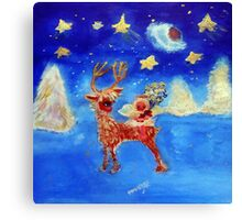 Little Angel on a Reindeer by Marie-Jose Pappas Canvas Print