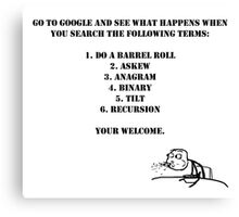 Google Instructions Canvas Print