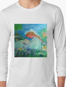 Little Girl Reading in the Garden Decor & Gifts  Long Sleeve T-Shirt
