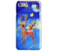 Little Angel on a Reindeer by Marie-Jose Pappas Blue iPhone Case/Skin