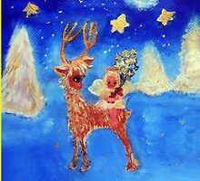 Little Angel on a Reindeer by Marie-Jose Pappas Blue by innocentorigina