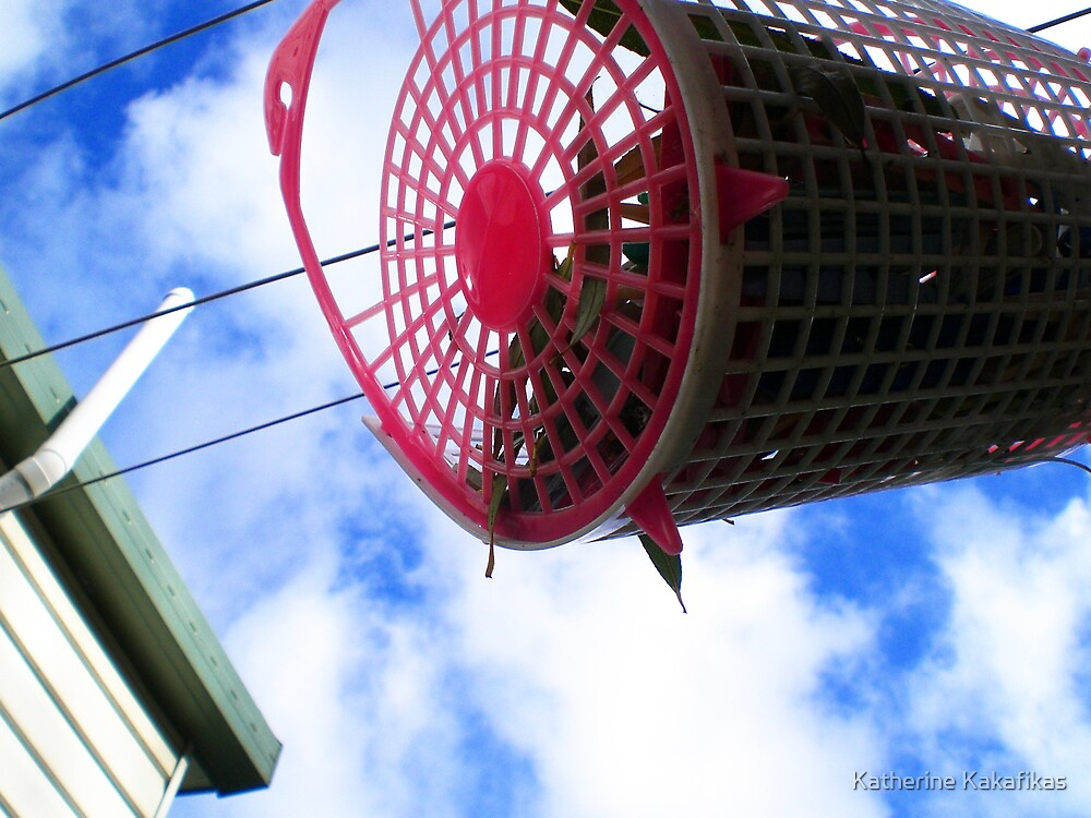 Red peg basket by Katherine Kakafikas