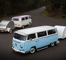 Twin Kombis with Teardrop Caravans by HoskingInd