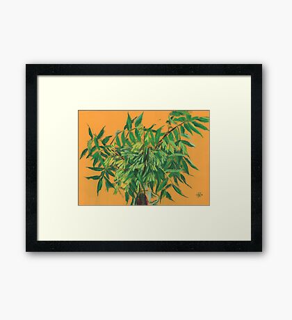 """Ash-tree"", green & yellow, floral art Framed Print"