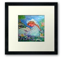 Little Girl Reading in the Garden Decor & Gifts Pink Framed Print