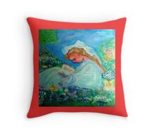 Little Girl Reading in the Garden Decor & Gifts  Throw Pillow