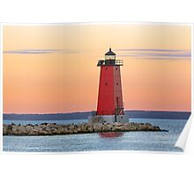 Morning at Manistique Lighthouse Poster