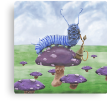 Who Are You? The Caterpillar on Mushroom Canvas Print