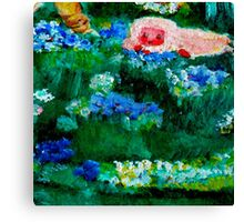 Little Lamb Sleeping in the Garden Red by Marie-Jose Pappas Canvas Print