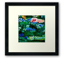 Little Lamb Sleeping in the Garden Yellow by Marie-Jose Pappas Framed Print