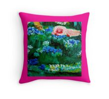 Little Lamb Sleeping in the Garden Pink by Marie-Jose Pappas Throw Pillow