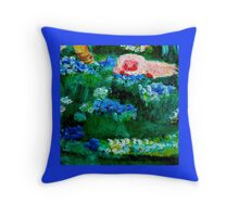 Little Lamb Sleeping in the Garden Blue Throw Pillow