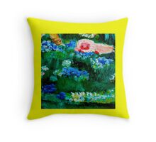 Little Lamb Sleeping in the Garden Yellow by Marie-Jose Pappas Throw Pillow