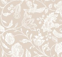 Tan Vintage Inspired Floral Pattern by phantomprint