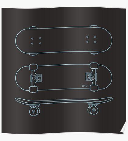 Skateboard (blue lines) Poster