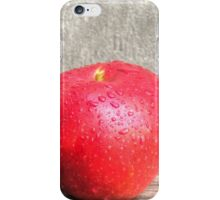 Apple with water drops on table iPhone Case/Skin