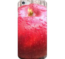 Apple with water drops on table 4 iPhone Case/Skin