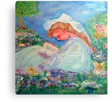 Little Girl Reading in the Garden  Canvas Print