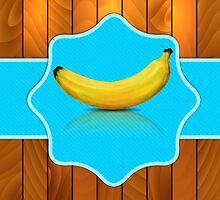 Banana on blue background by AnnArtshock