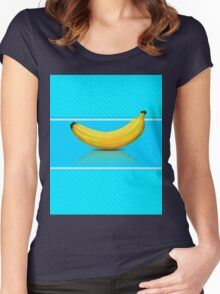 Banana on blue background Women's Fitted Scoop T-Shirt
