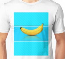 Banana on blue background Unisex T-Shirt