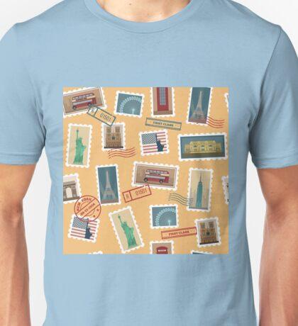 Travel Postage Stamps Seamless Pattern: USA, New York, London, Paris Unisex T-Shirt