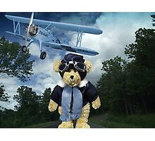 COME FLY WITH ME>BEAR PLANE PICTURE>CARD>PILLOW>TOTE BAG Photographic Print