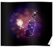 Glowing wine bottle and glass Poster