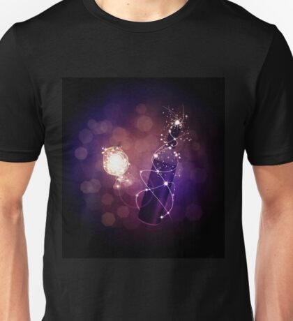 Glowing wine bottle and glass Unisex T-Shirt