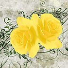 Vintage Look Stone Yellow Roses by Melissa Park